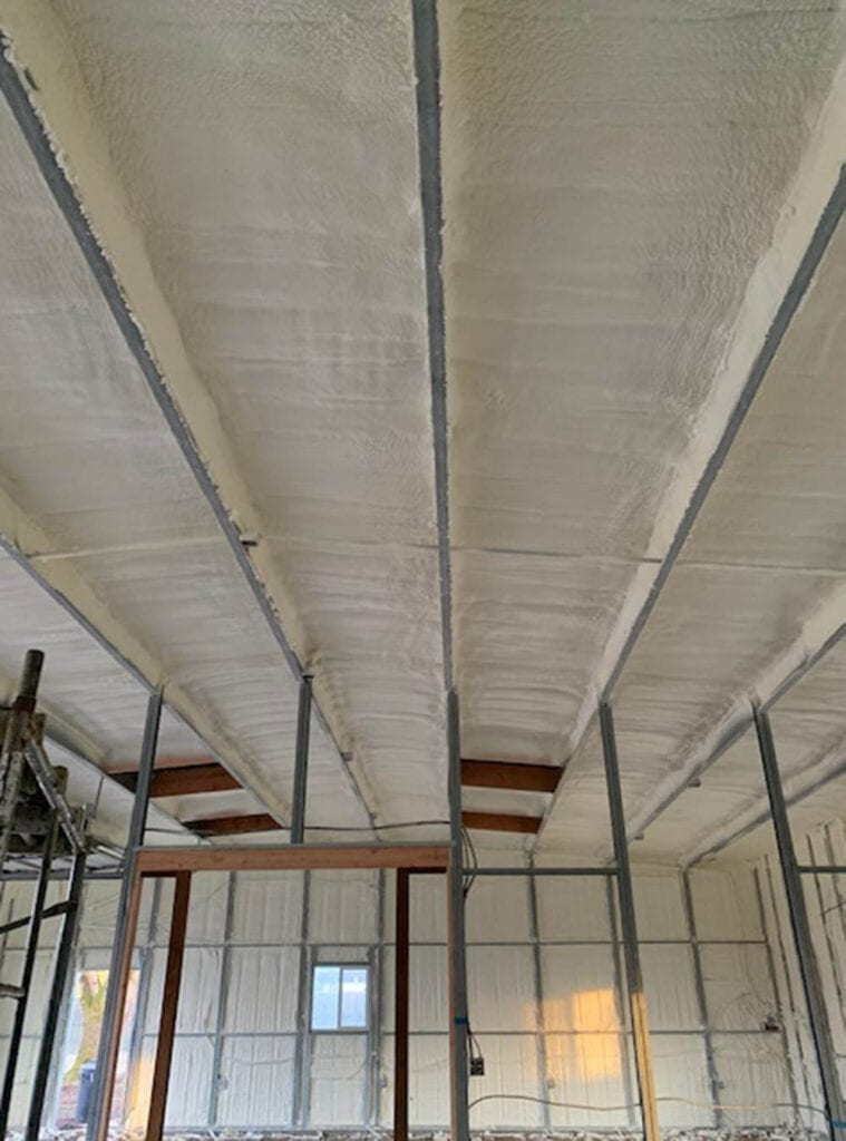 An indoor grow facility in need of a complete coat of spray foam insulation; roof and walls. Spray Foam Insulation for Cannabis Farms